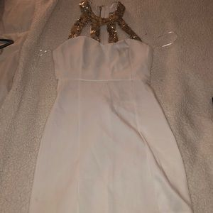 Sparkly Gold and white homecoming/clubbing dress